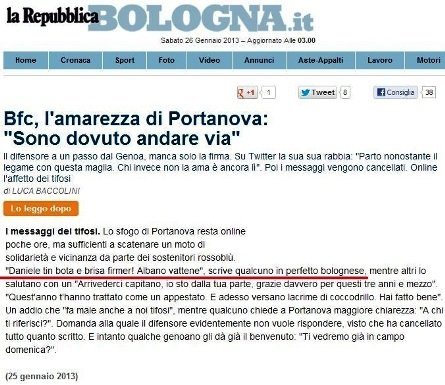 Il tweet a Portanova su Repubblica.it