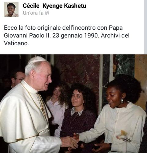 Kyenge col Papa Wojtyla_archivi vaticani