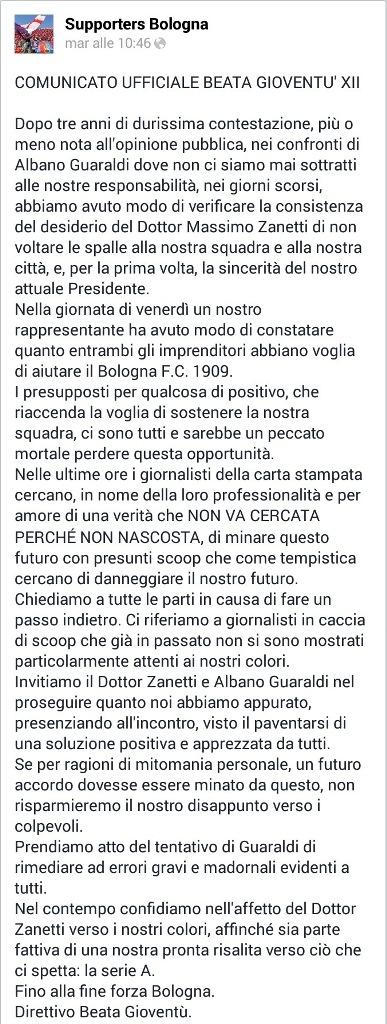 Comunicato_Beata Gioventù Ultras Bologna