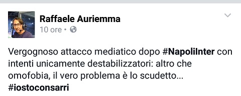 Il Tweet di Raffaele Auriemma